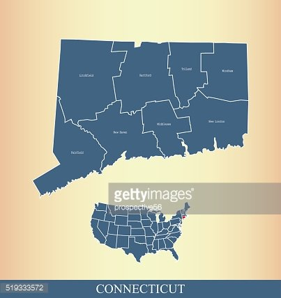 Connecticut county map outline vector illustration in creative design