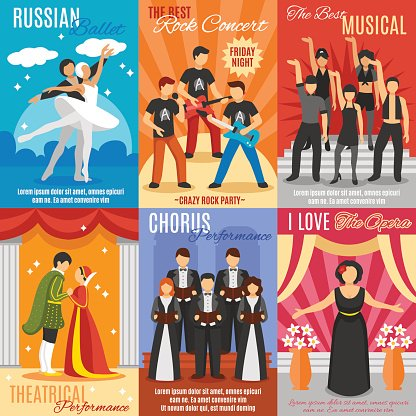 Flat theater Posters Set