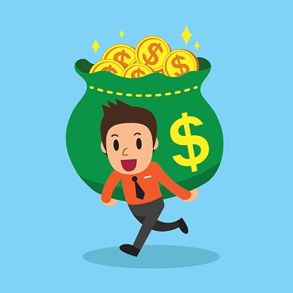 Cartoon businessman carrying big money bag Clipart Image