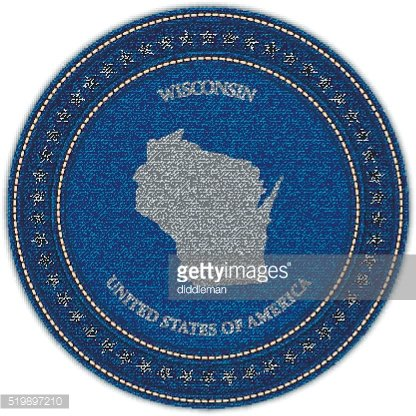Label with map of wisconsin. Denim style.
