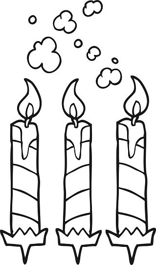 Black And White Cartoon Birthday Cake Candles Clipart Image
