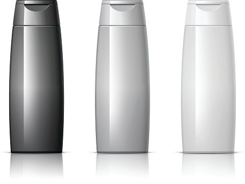 Realistic Cosmetic bottle can shampoo container.