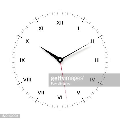 White clock face for with black and red pointer. Roman