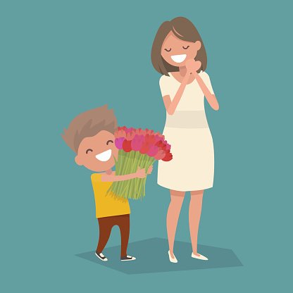 Son gives mom a bouquet of flowers. Vector illustration