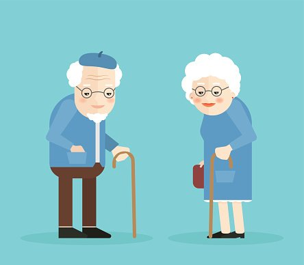 Happy Old Man And Woman With Glasses Walkins Premium Clipart