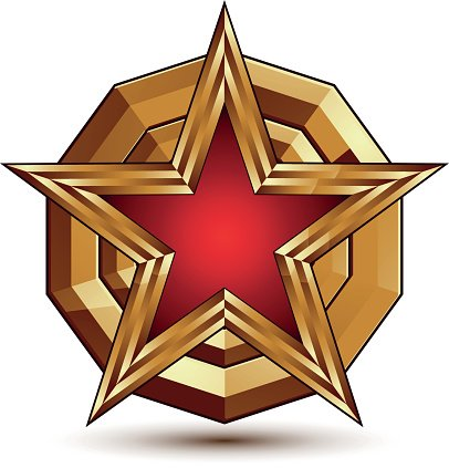 3d Stylish Vector Template With Pentagonal Red Star Symbol Premium