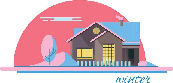 Winter house in evening. Family suburban home. Vector flat illustration.