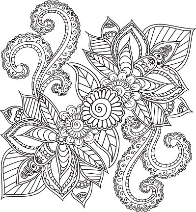 Coloring Pages For Adults Henna Mehndi Doodles Abstract Floral Elements