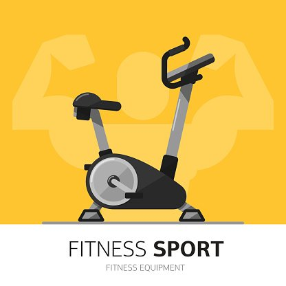 Gym Equipment Concept Exercise Bike Vector Icon