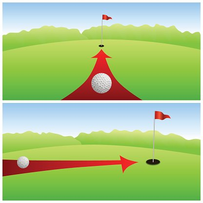 Landscape Golf Course Green White Ball Red Arrow Background Vector Clipart Image