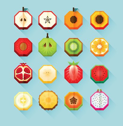 Summer print stylized fruits collection. Flat Material design fruit icon