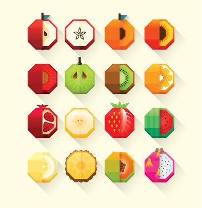 Summer fruits stylized collection. Flat Material design fruit icon set