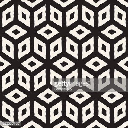 Vector Seamless Hand Painted Line Geometric Cube Pattern
