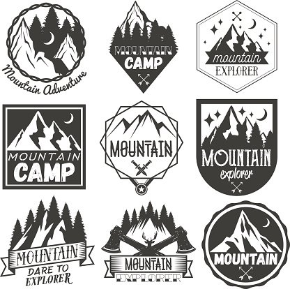 Vector Set of Mountain Camp Labels IN Vintage Camp premium