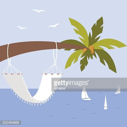 Vector illustration with palm tree, hammock and yacht, seagulls