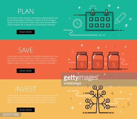 Plan. Save. Invest. Line vector web banners set