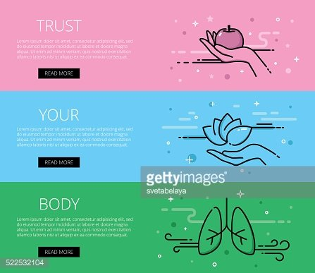 Trust Your Body. Line vector web banners set