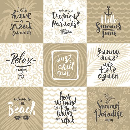 Set Of Summer Holidays And Vacation Posters Or Greeting Card Clipart Image