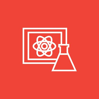 Atom sign drawn on board and flask line icon