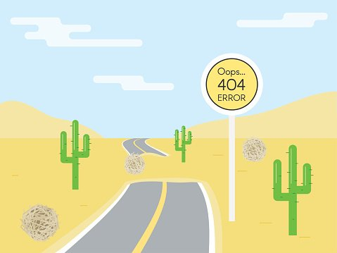 404 error page template for website. Road sign