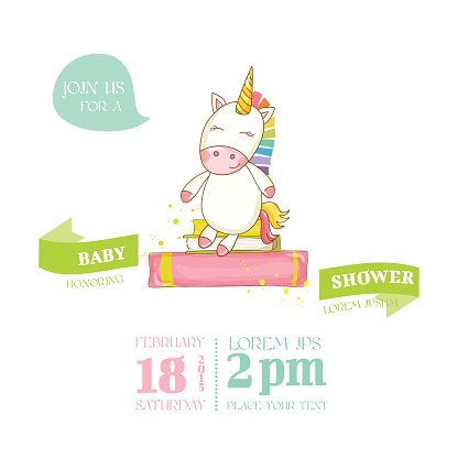 baby shower or arrival card baby unicorn girl premium clipart