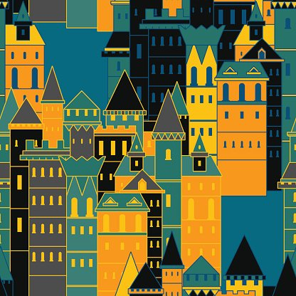 Seamless pattern with fairy medieval castles.