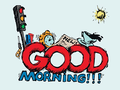 Good Morning Greeting Card Illustration Premium Clipart