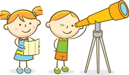 Image result for clipart kids and telescope