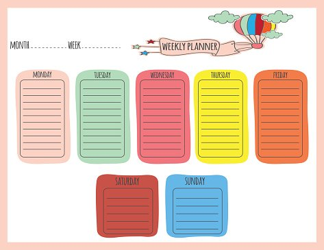 image relating to Cute Weekly Planners titled Adorable Weekly Planner top quality clipart -