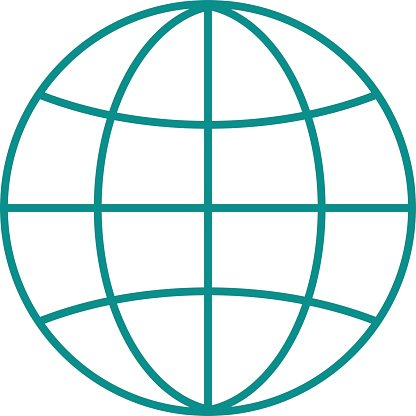 Globe earth icon reflection outline planet map symbol vector illustration