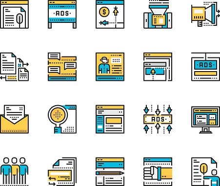 Modern Flat line icon concept of Online marketing