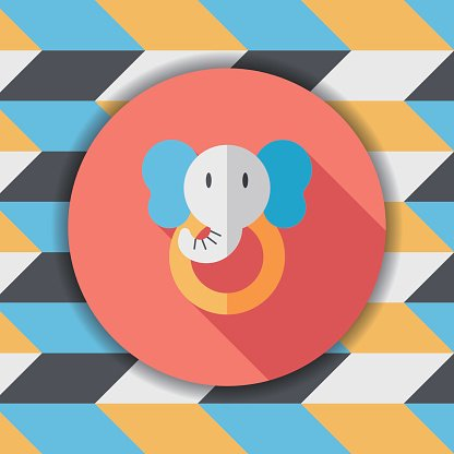 elephant toy flat icon with long shadow,eps10