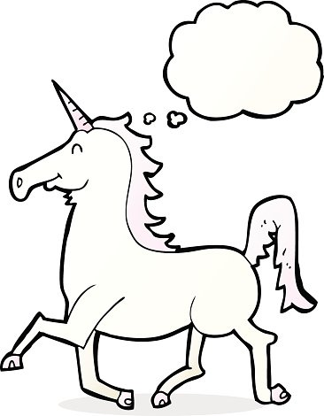 Cartoon Unicorn With Thought Bubble Premium Clipart