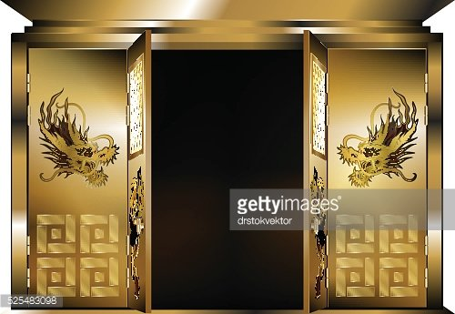 Traditional eastern gate gold dragons two open doors