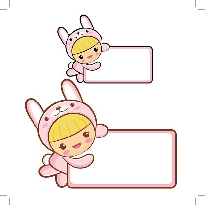 Rabbit Character is holding a board. Asian Zodiac Character Design ...