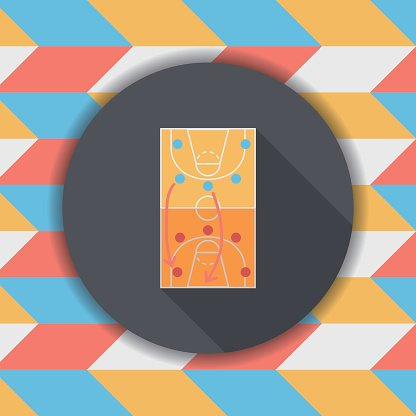 Basketball Strategy Board Flat Icon With Long Shadow Eps10 Premium