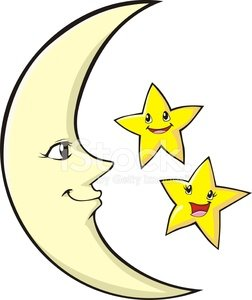 Moon happy. Mother and children stars