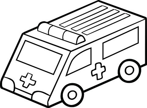 Coloring Book For Ambulance Car Premium Clipart