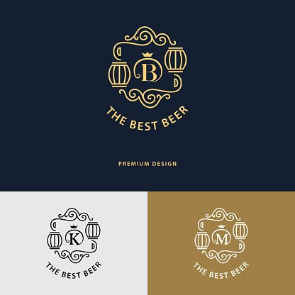 Line graphics monogram. Flourishes frame ornament template with barrel. Vector