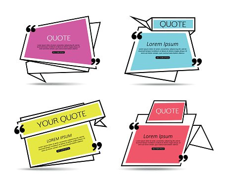 Set Origami Quote Template For Social Networking Newspaper