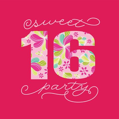 sweet sixteen 16 party text card template premium clipart