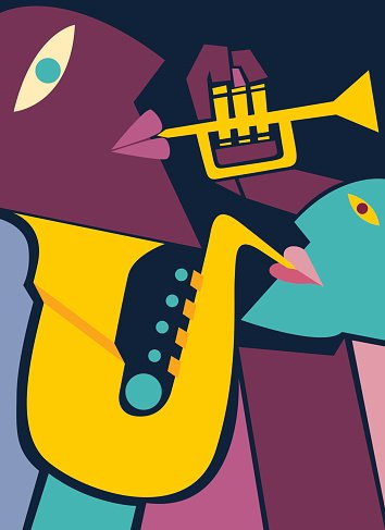 Saxophone and Trumpet Players, Jazz Art (vector Art)