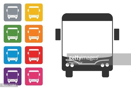 Bus on coloured button