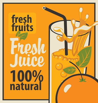 glass of fresh juice and orange