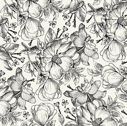 Vintage Flowers Background Drawing Engraving Wallpaper Vector Illustration
