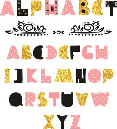 Cute alphabet hand drawn font premium clipart clipartlogo cute alphabet design hand drawn font altavistaventures Images