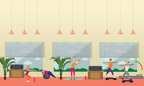Fitness center interior vector people work out in gym premium