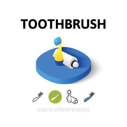 Toothbrush icon in different style