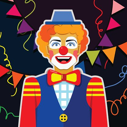 Smiling funny clown with hat and colorful ribbons
