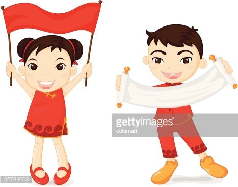 boy and girl show flag